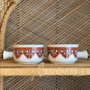 2 speckled vintage bowls